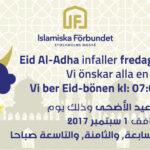 Eid Aladha infaller fredagen den 1:a september
