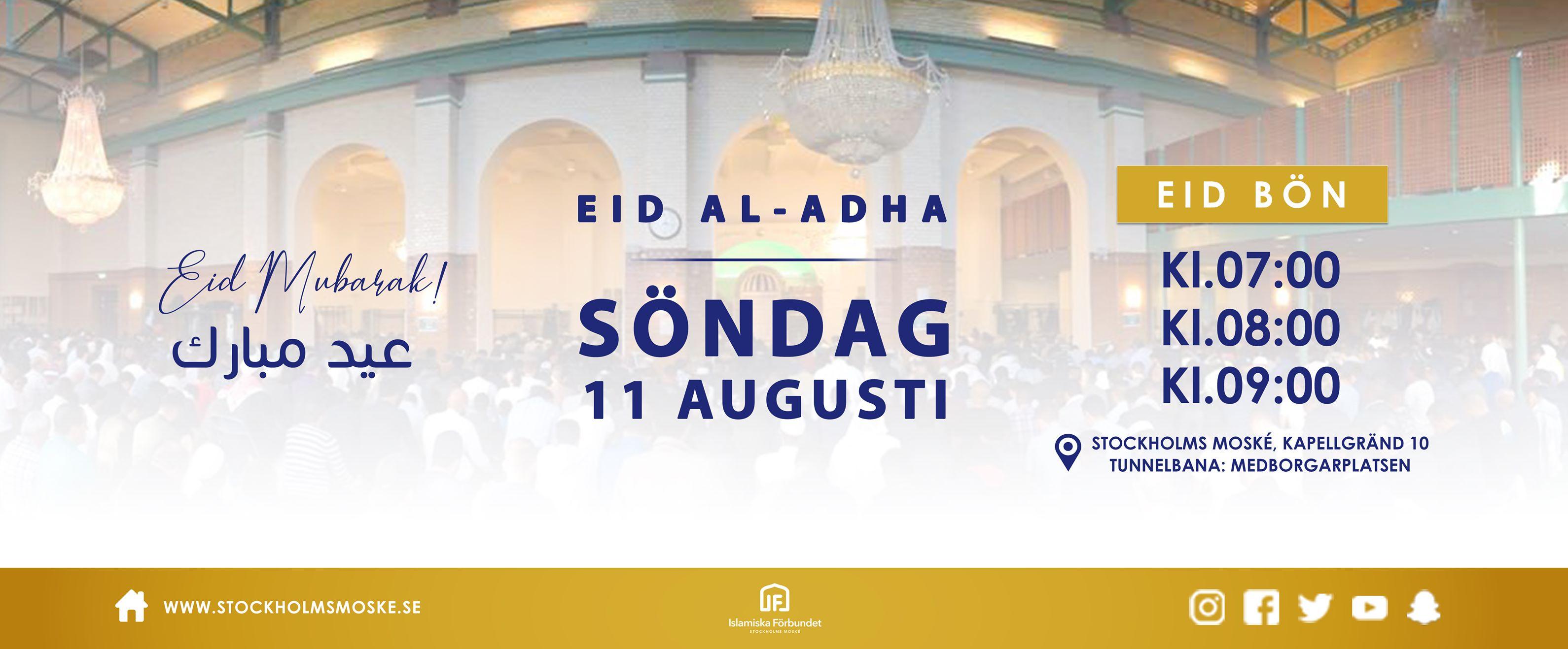 Eid Al-Adha infaller söndag den 11:e augusti, 2019